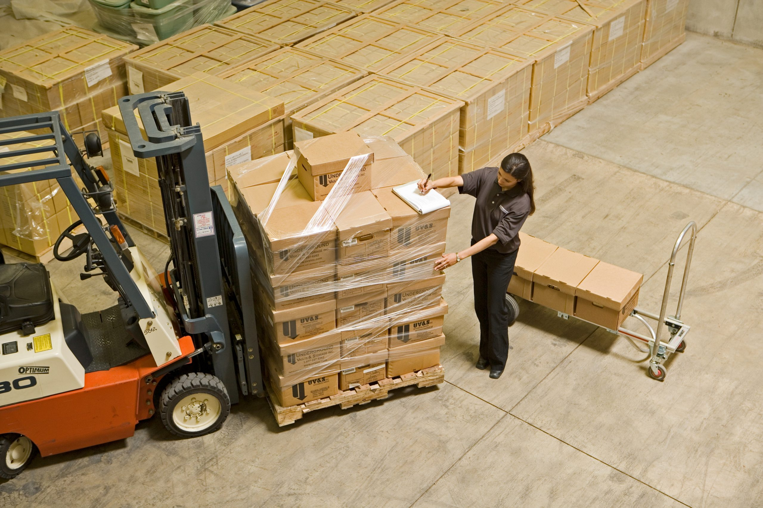 woman working with boxes